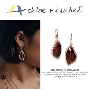🆕 Rebel Red Tiger Eye Drop Earrings c+i E366